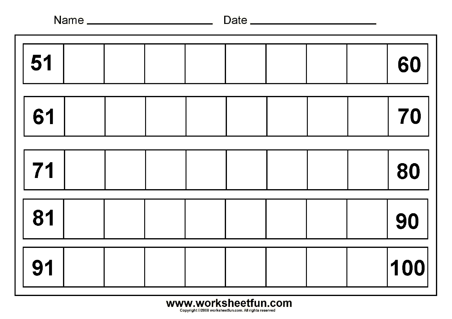 missing numbers (51-100) - 8 Worksheets | Printable Worksheets ...