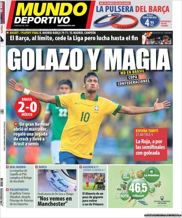 Los Titulares y Portadas de Noticias Destacadas Españolas del 20 de Junio de 2013 del Diario Mundo Deportivo ¿Que le parecio esta Portada de este Diario Español?