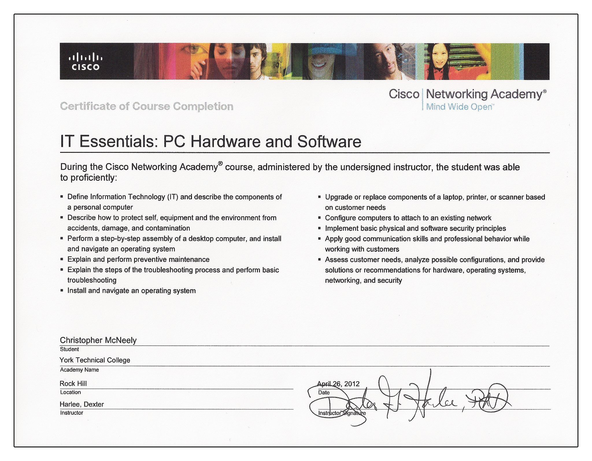My Cisco Networking Academy Certification For Pc Hardware Software