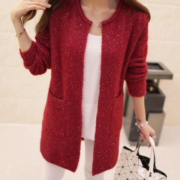New Winter Autumn Women Casual Long Sleeve Knitted Cardigans ...