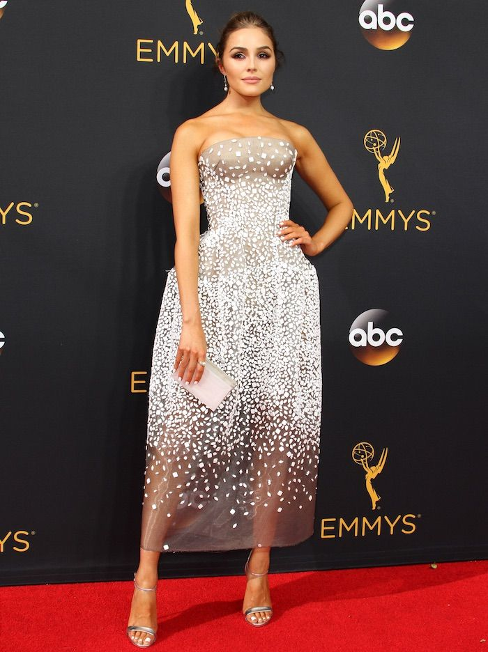 Olivia Culpo in a Zac Posen dress paired with Casadei silver ankle-strap sandals for the 68th Annual Primetime Emmy Awards on September 18, 2016 at the Microsoft Theatre in Los Angeles.