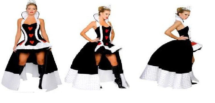 Enchanting Queen of Hearts Costume #RMA4057.  Click the image for descriptions, prices, availability and ordering information.  All costumes are for sale or rent unless otherwise noted.  We ship worldwide, Monday through Saturday.