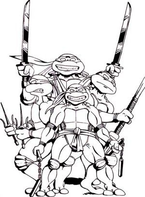 Teenage Mutant Ninja Turtles Gang Loved Pizza Coloring Page - Free ...