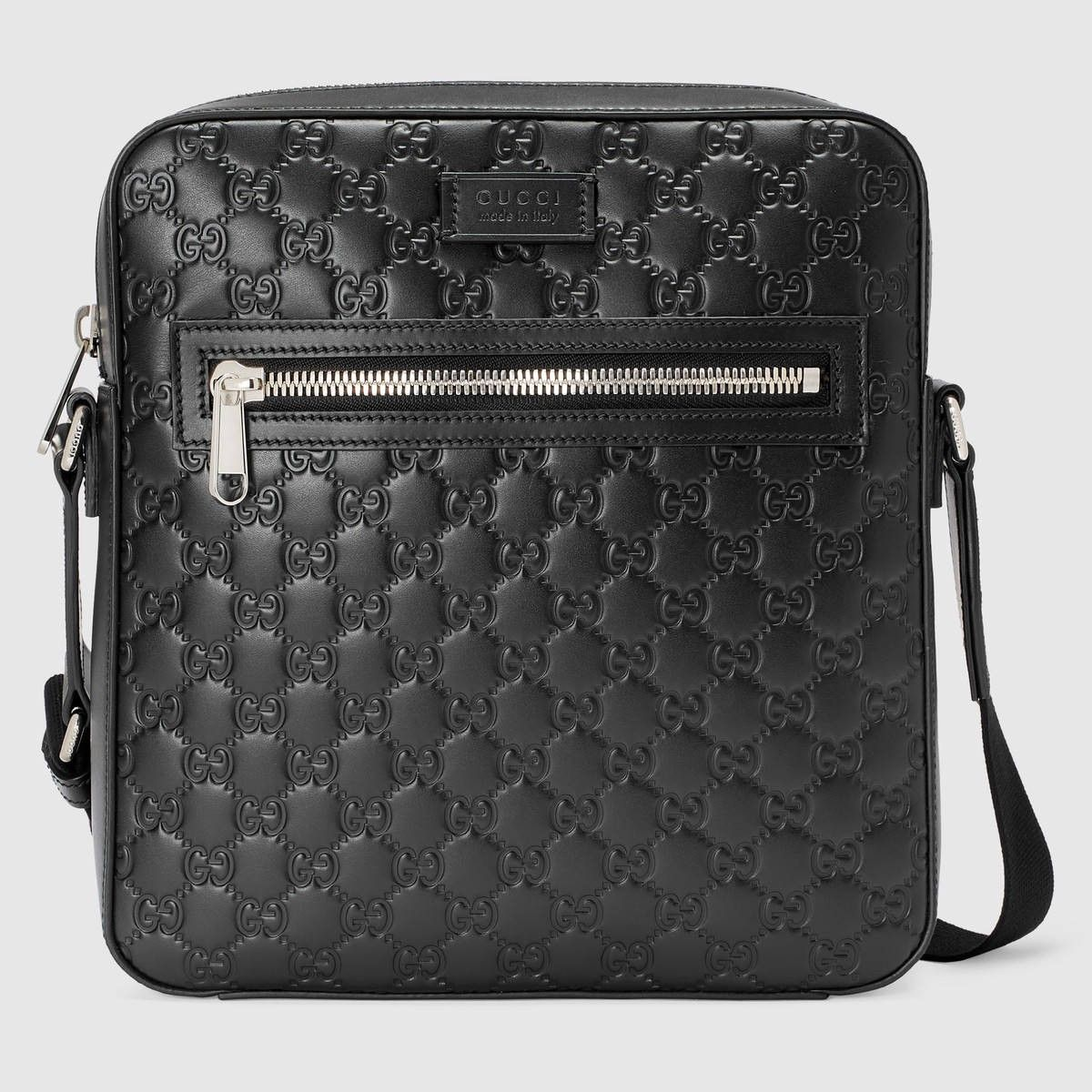 f3ab4765f2a2 GUCCI Gucci Signature Leather Flat Messenger - Black Gucci Signature. #gucci  #bags #shoulder bags #lining #nylon #suede #