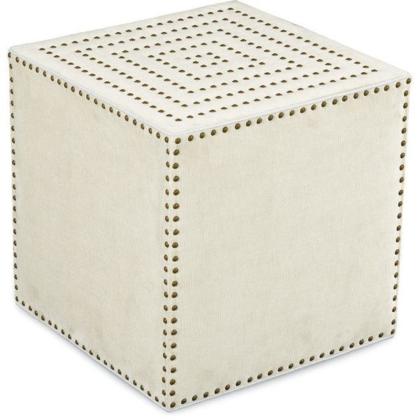 Lee Industries Adora Square Ottoman in Patton White (230 KWD) ❤ liked on  Polyvore