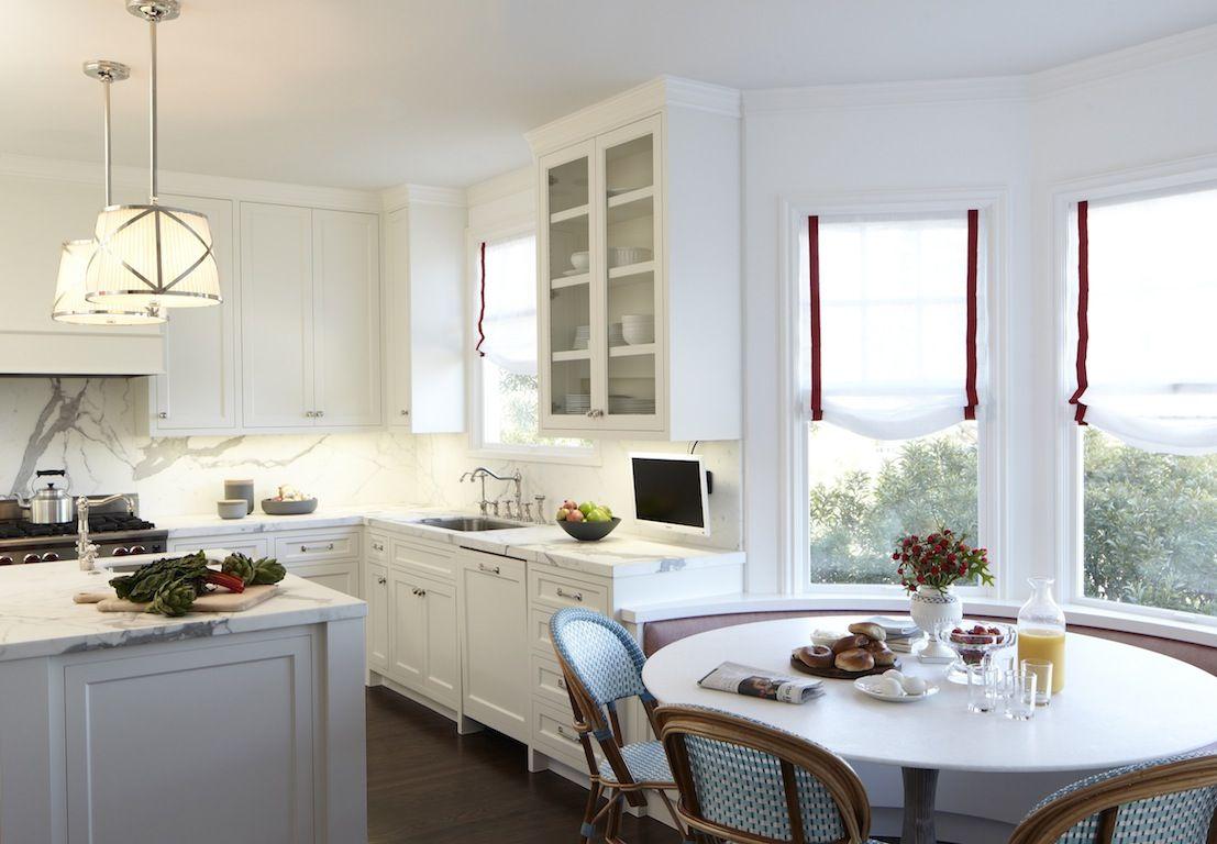 white eat-in kitchen - bistro chairs
