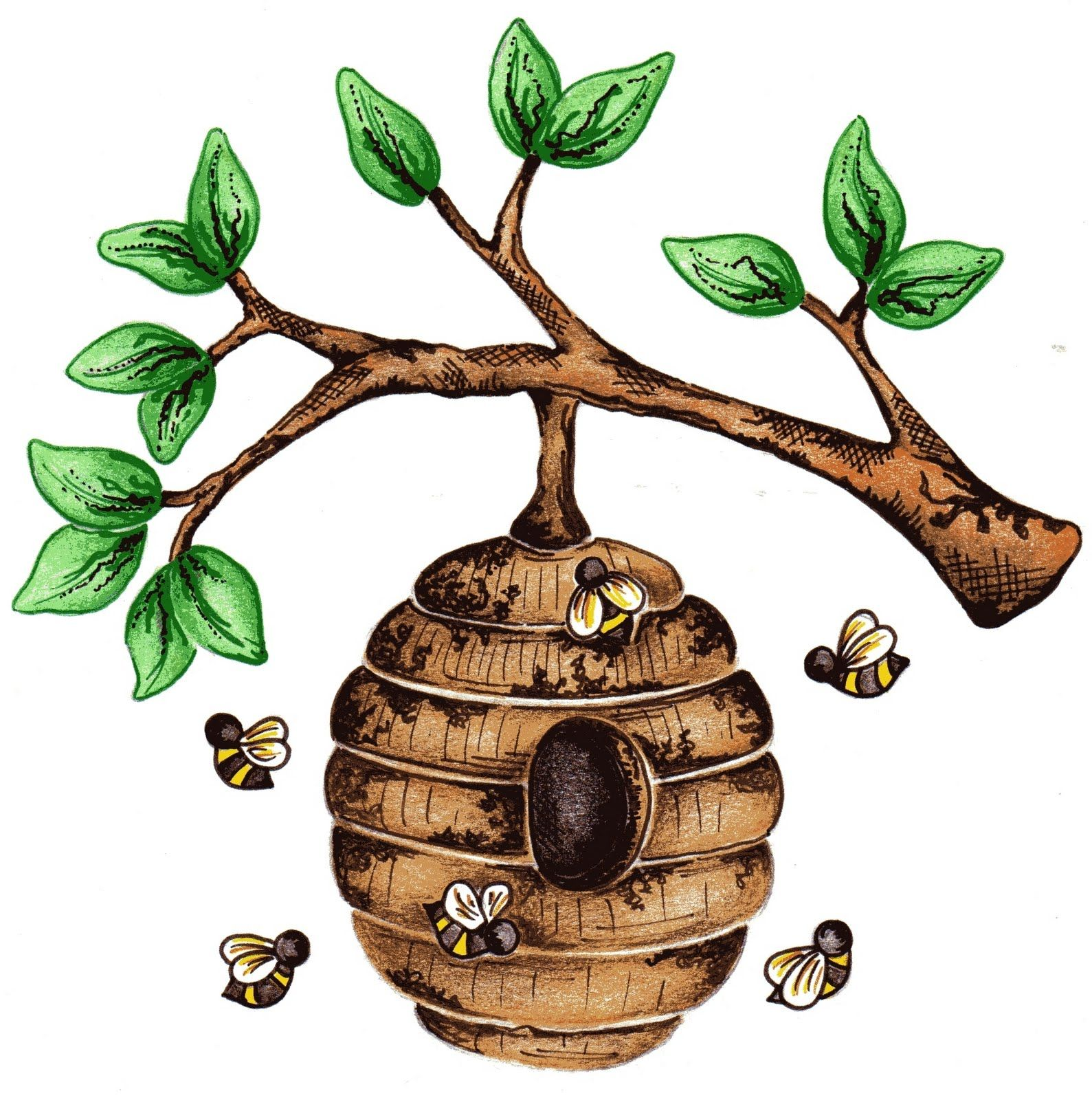Beehive Images For Bee Hive In Tree Clip Art Beehive Art Bee Art Beehive Image