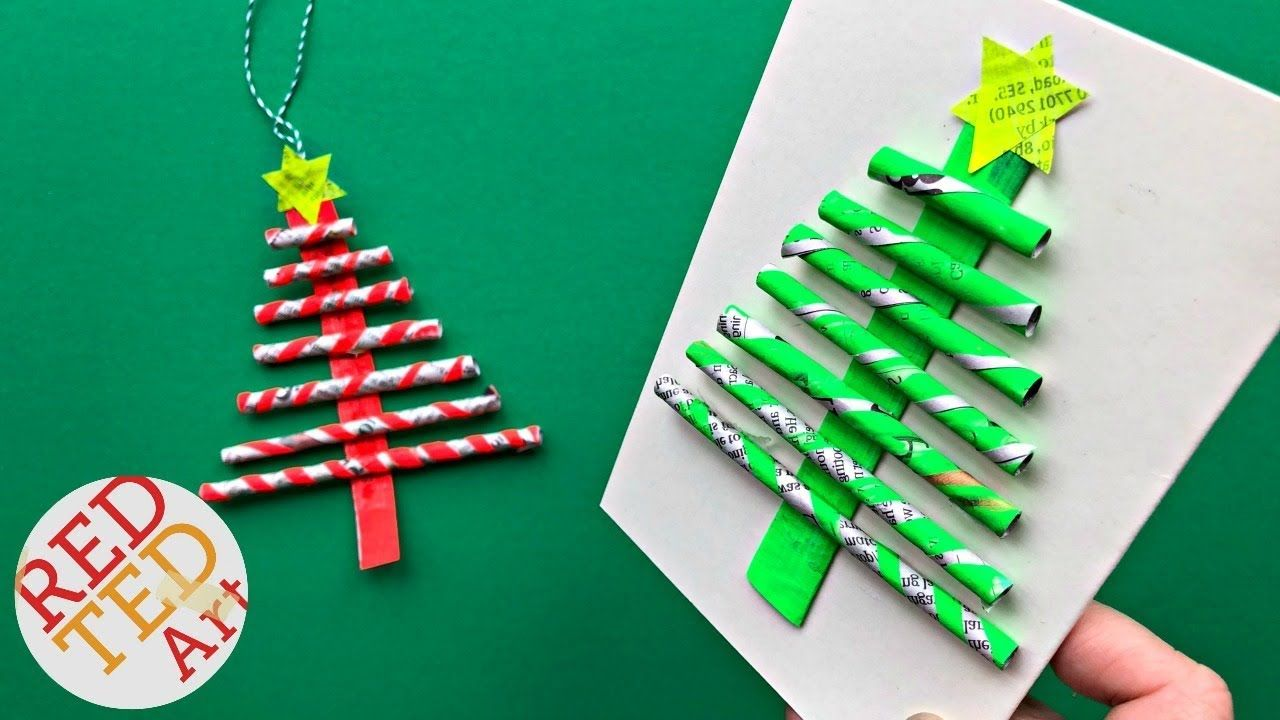 Diy Paper Straw Christmas Tree Ornament Card Diy Easy Newspaper Diy Ideas Recycled Diy Christmas Tree Ornaments Diy Christmas Cards Christmas Tree Cards