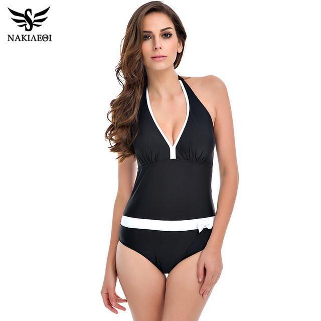2d66ba26c12 New One Piece Swimsuit Women Vintage Bathing Suits Halter Plus Size Swimwear  Sexy Monokini Summer Beach