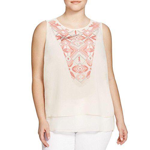 Nic + Zoe Womens Plus Chiffon Embroidered Tank Top Beige 3X
