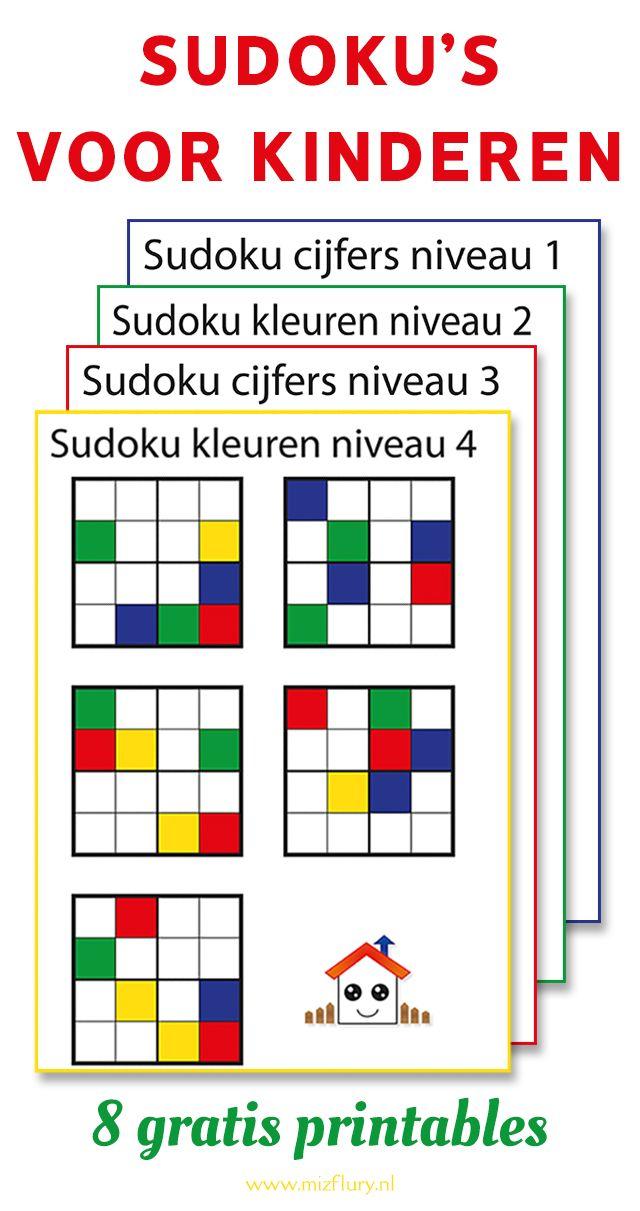 Sudoku's voor kinderen (gratis download) is part of Teaching kids, Business for kids, Preschool math, School hacks, Activities for kids, School - Gratis downloads van 8 vellen met sudoku's voor kinderen  Met kleuren en cijfers, verschillende niveaus