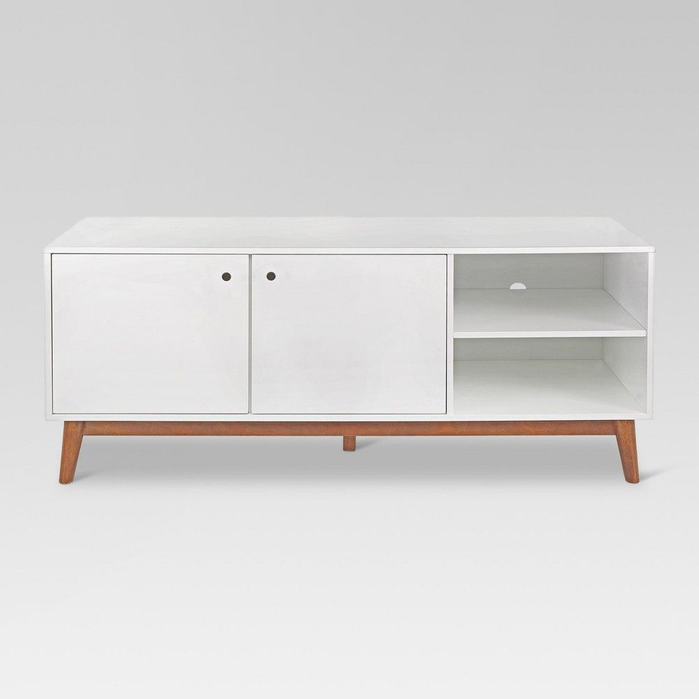 6674fd150a4 58 Amherst Mid Century Modern Two Tone Media Stand White Brown - Project 62