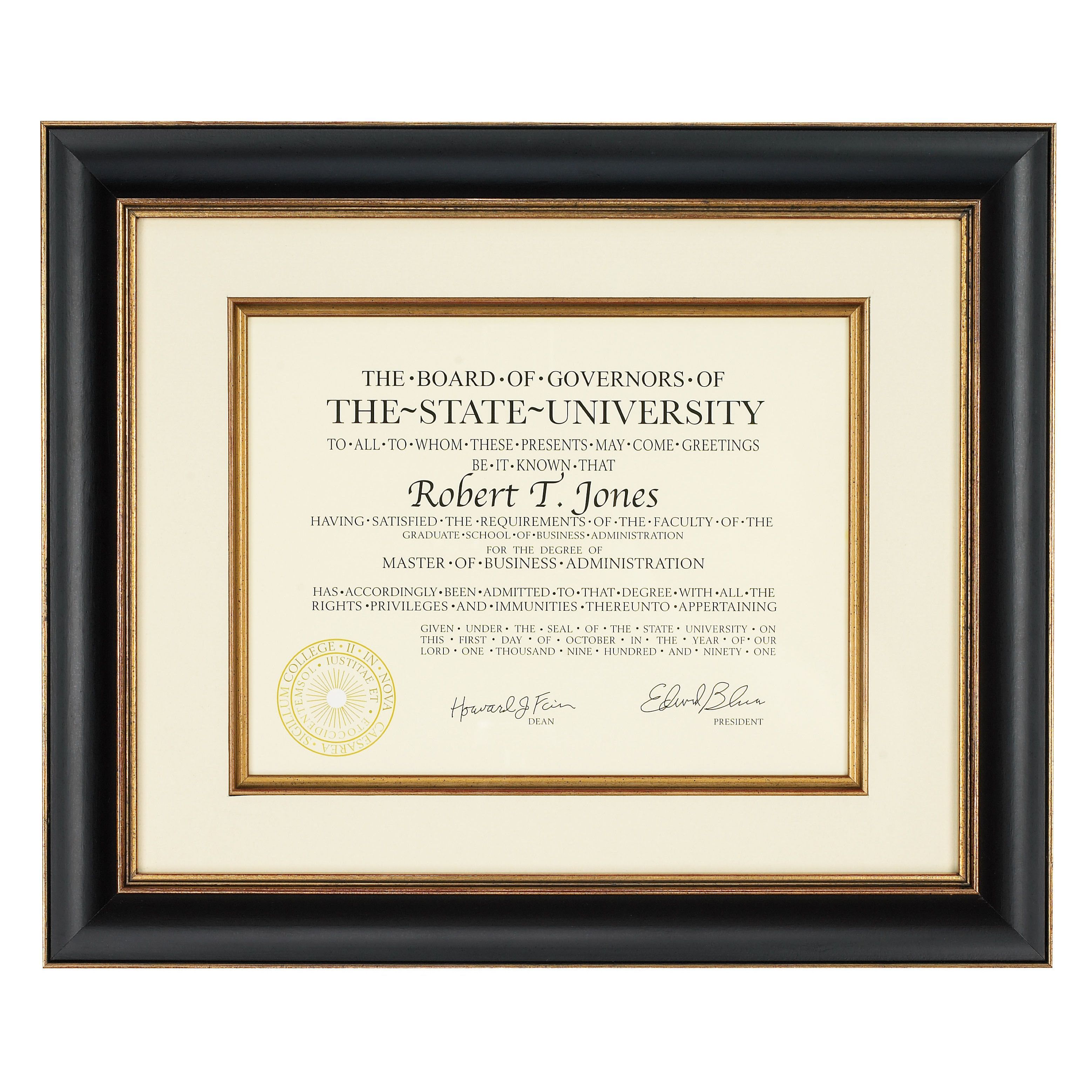 Artcare 12-inch x 15-inch Tuscan Black and Gold Wooden Document ...