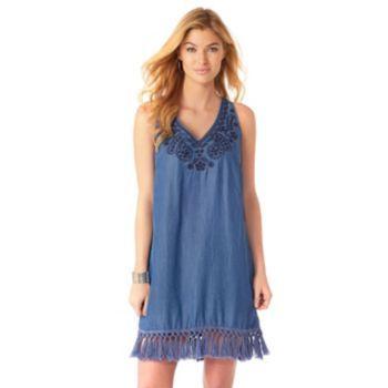 Women's Indication by ECI Fringe Chambray Shift Dress, Size: Medium, Med  Blue