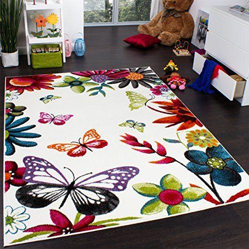 Tapis Chambre d\u0027Enfant Papillons Multicolore Crème Rouge