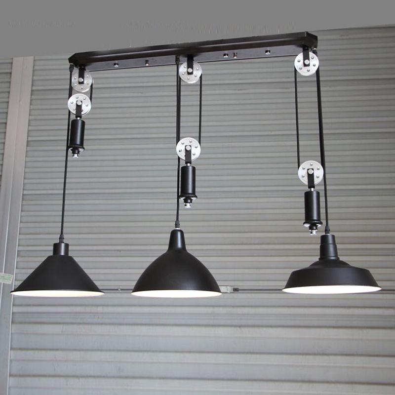 Kitchen Industrial Lighting Bar Vintage Adjustable Pulley Pendant