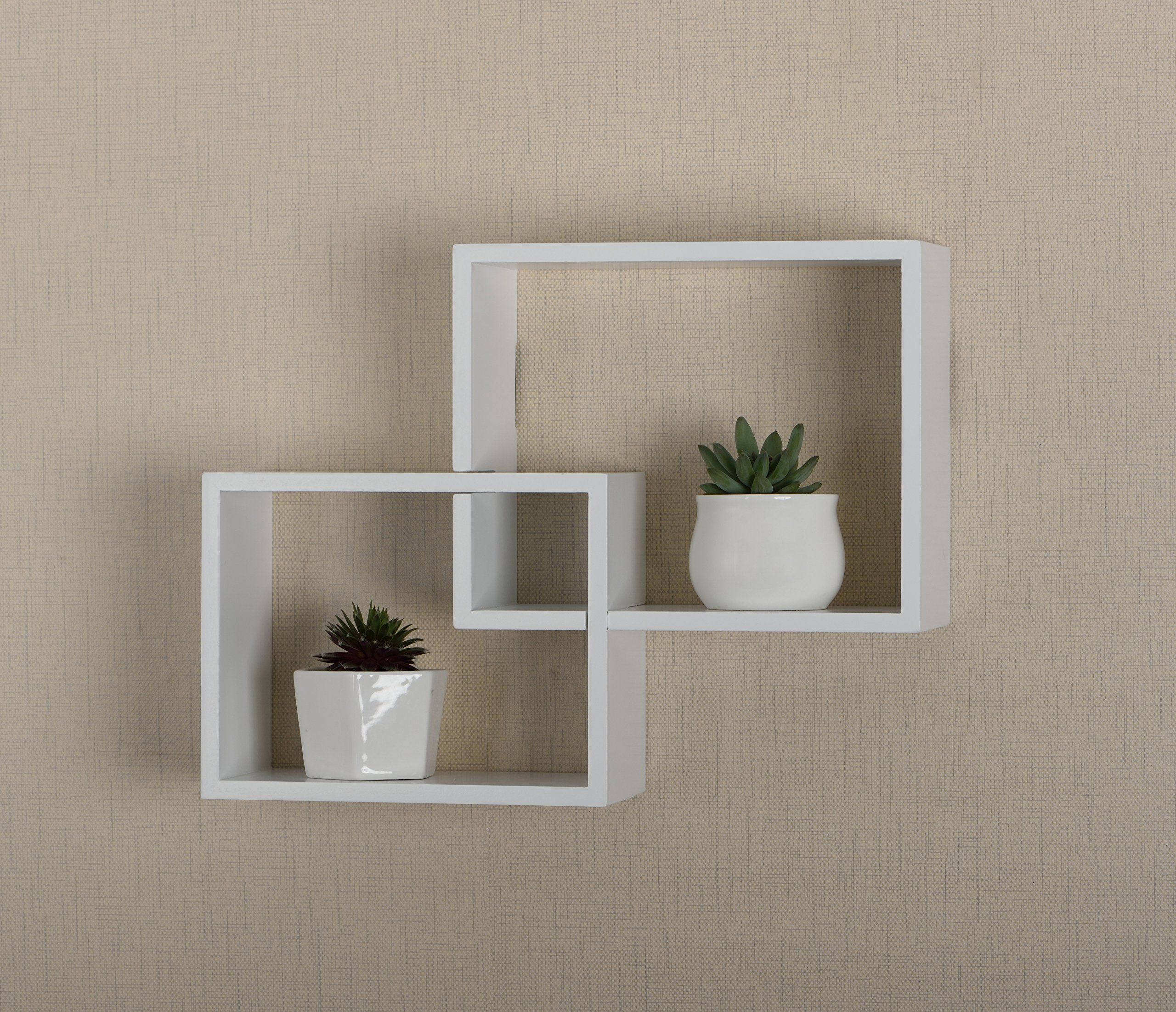Vlight Interlocking Wall Cube Wood Shelving White See This