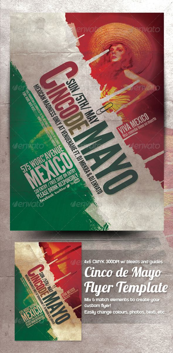 Cinco De Mayo Flyer Template #1 Flyer template, Party flyer and - event flyer templates