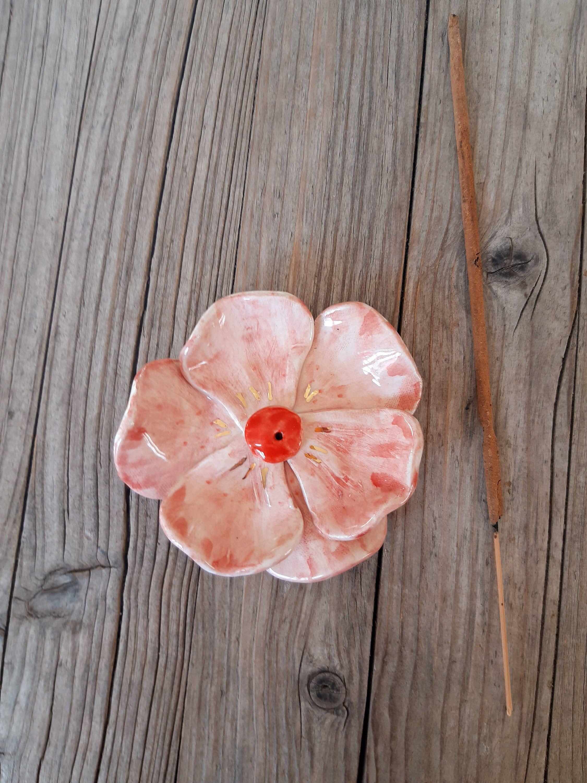 Pottery Blossom Ceramic Plate,Pink Blossom,Incense holder,Incense stick Holder,Insense burner,Feng shui,Pink,Green,Birthday Gift,Home decor