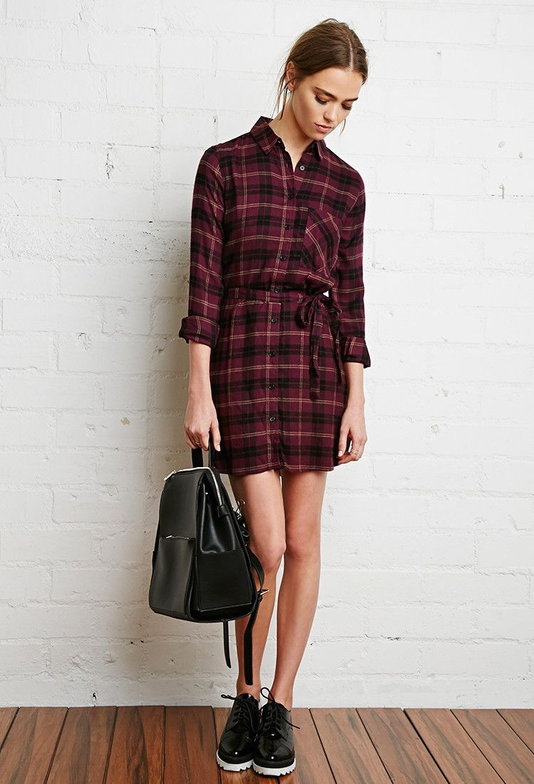 Plaid Flannel Shirt Dress | Forever 21 - 2000174047 | Clothes ...