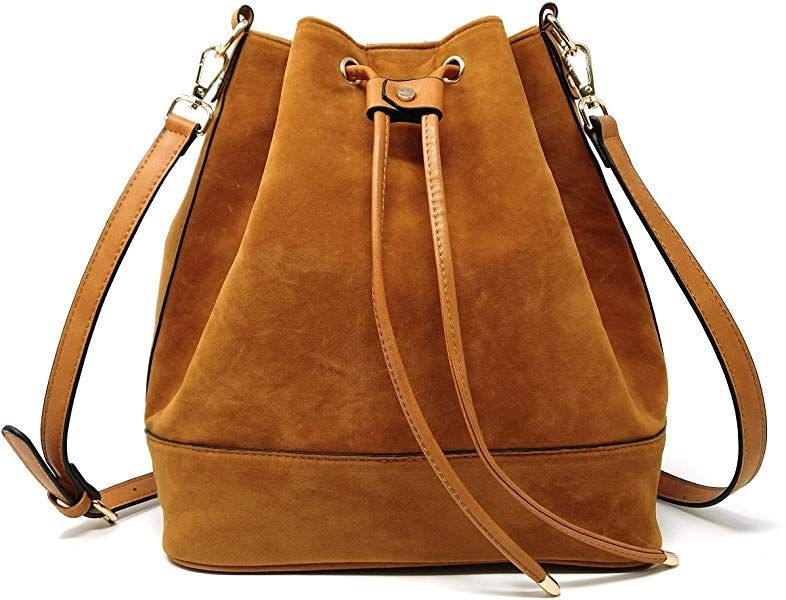 AFKOMST Drawstring Bucket Bag for Women Large Crossbody Purse and Shoulder Bag Suede Tote Handbags