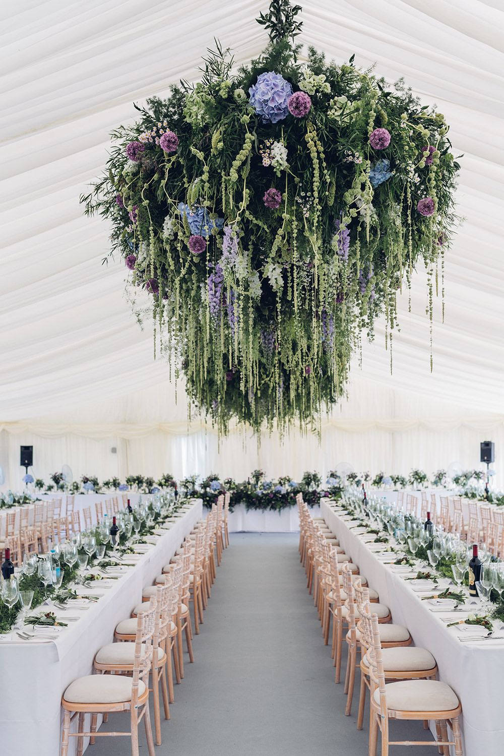 Woodland Marquee Reception with Hanging Floral Arrangements by Amie Bone Flowers