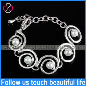 Wholesale Alloy With Pearl Burnished Silver Bracelets For Women