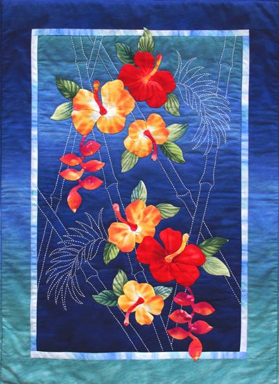 Sylvia Pippen - Workshop called:   From Flowers to Fabric: Combining Hand Sashiko and Appliqué