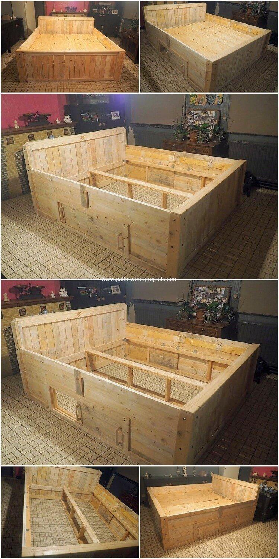 Diy Wood Pallets Bed With Storage Drawers Lit Palette Bois Meuble A Fabriquer Soi Meme Palette Bois