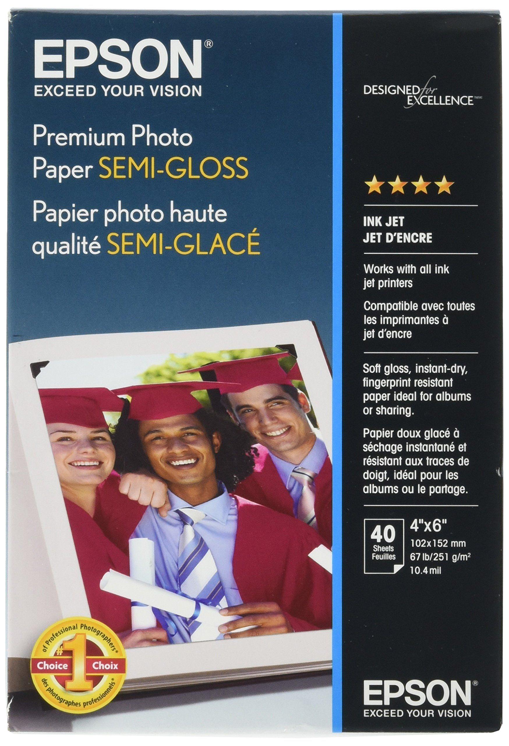 Epson Premium Photo Paper SEMI-GLOSS (4x6 Inches, 40 Sheets
