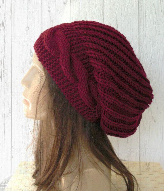 Hand Knit Hat Womens hat  chunky knit Slouchy Beanie  by Ebruk, $38.00