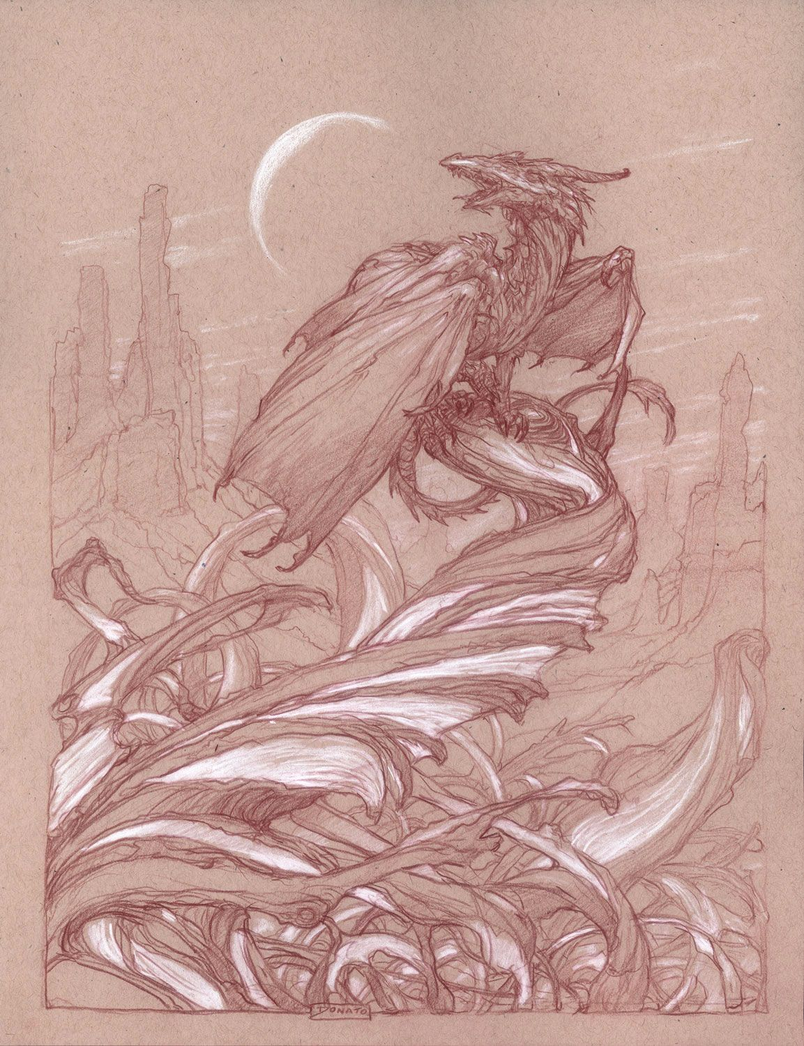 11″ x 14″ Watercolor Pencil and Chalk on Toned Paper Archivally mounted and matted to 16″ x 20″ in an 8-ply conservation mat. Inspired by the writings of Anne McCaffrey and her Dragonriders of Pern novel series.