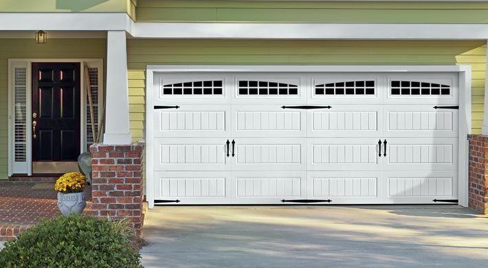 Green Siding Brick Columns Carriage Door Carriage Style Garage Doors Garage Door Styles Carriage House Garage Doors