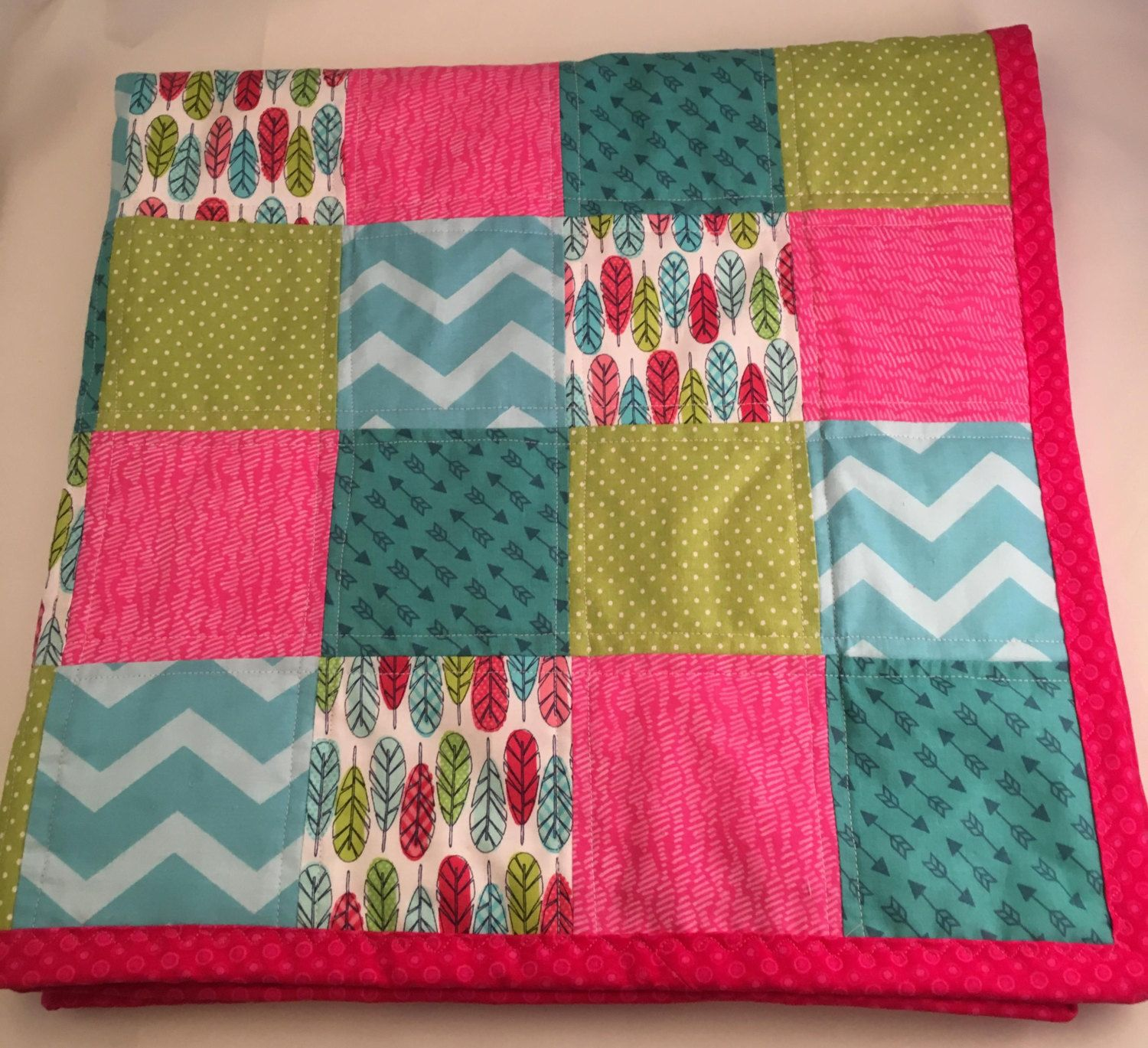 Feather and Arrow Baby Quilt/Feather/Arrow/Chevron/ Polka Dot Baby Blanket/Hot Pink Minky Blanket by OccasionalGoods on Etsy