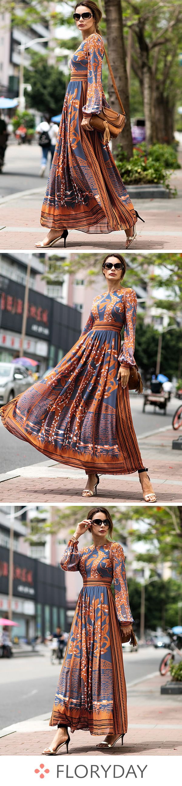 Chiffon floral long sleeve maxi aline dress chiffon dress dresses