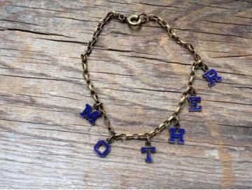Retro charm bracelet / tiny letters / mother / blue enamel by OneLuckyWeed on Etsy