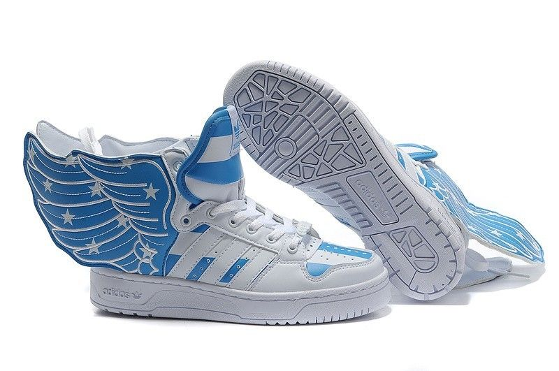 #jeremyscottwings $108.00 Jeremy Scott Wings 2.0 Air Force Flag Mens Adidas  Originals Shoes White Blue