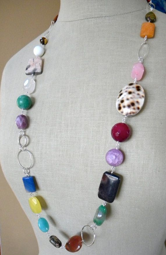 Colorful+Mix+Necklace++Silver++Stones+Shell+OOAK+by+ikeandco,+$36.00