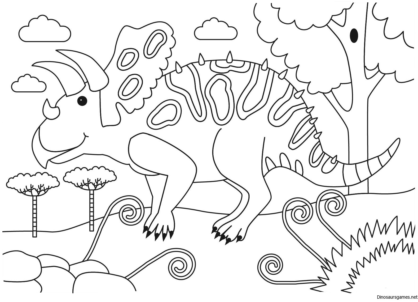 Get Torosaurus Coloring Page From Dinosaursgames Net Site To Print