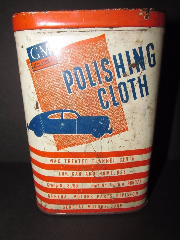 Gm Polishing Cloth Tin Vintage Automobile Gas And Oil Paul Brown