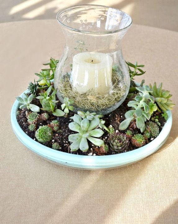 Succulent Candle Centerpiece Succulent centerpieces