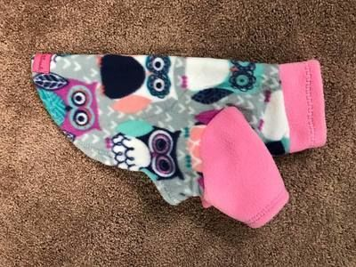 """Colorful Owls Fleece Pajama - small dogs - Vest, 2 legs, 4 legs  Available in a Vest, 2 leg or 4 leg pajama. Accompanied with Colored Legs/Neck  Super soft, Warm and absolutely needed for the fall/winter/spring weather for a chilly hound!  Each item is made to order - Your dogs measurements are required to complete the order - Please add them in """"notes to seller"""""""
