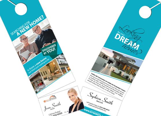 2 In 1 Door Hangers With Business Cards Real Estate Hanger Rip