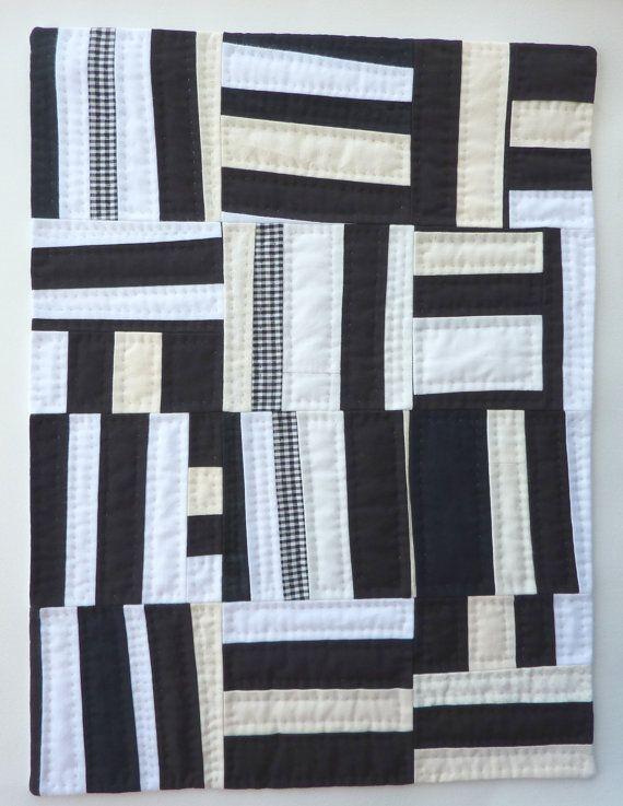 Black And White Stripes No 2  Textile Art by FireHorseTextiles, £60.00
