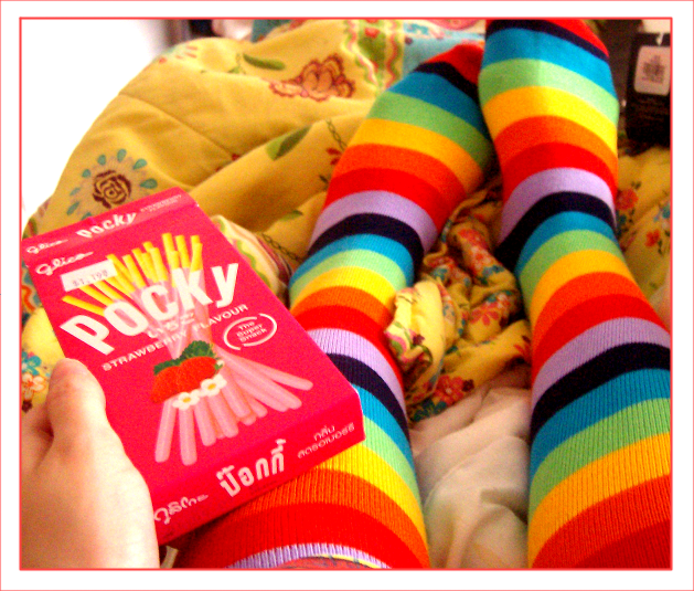 Pocky AND rainbow socks. Double awesome in this shot. By ~TAKOMoofinz.
