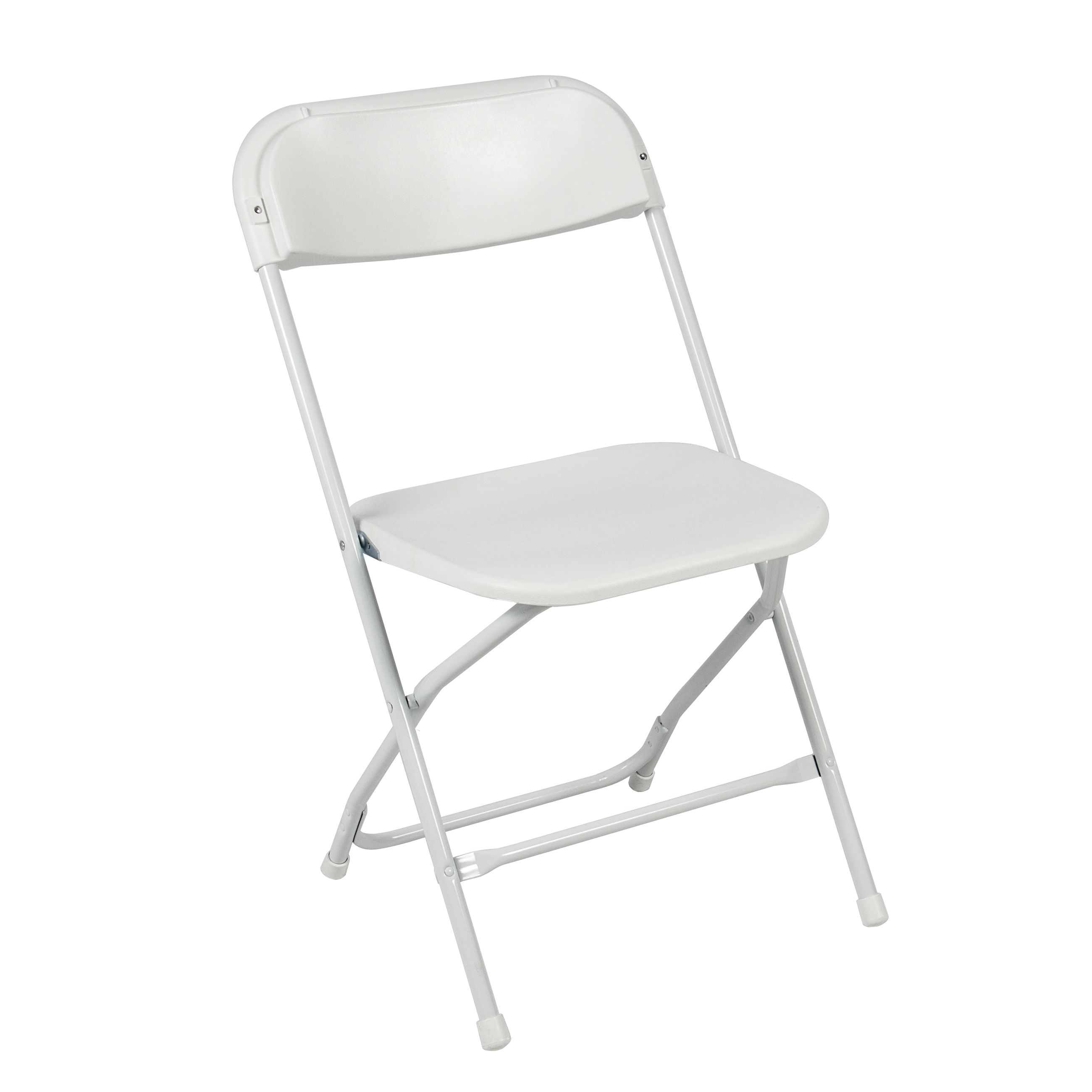 (5) Commercial White Plastic Folding Chairs Stackable
