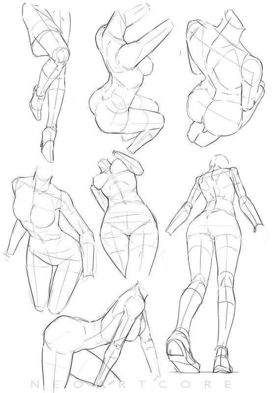women pose ref drawing pinte