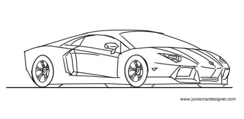 learn to how draw a lamborghini step by step - Lamborghini Black And White Drawing