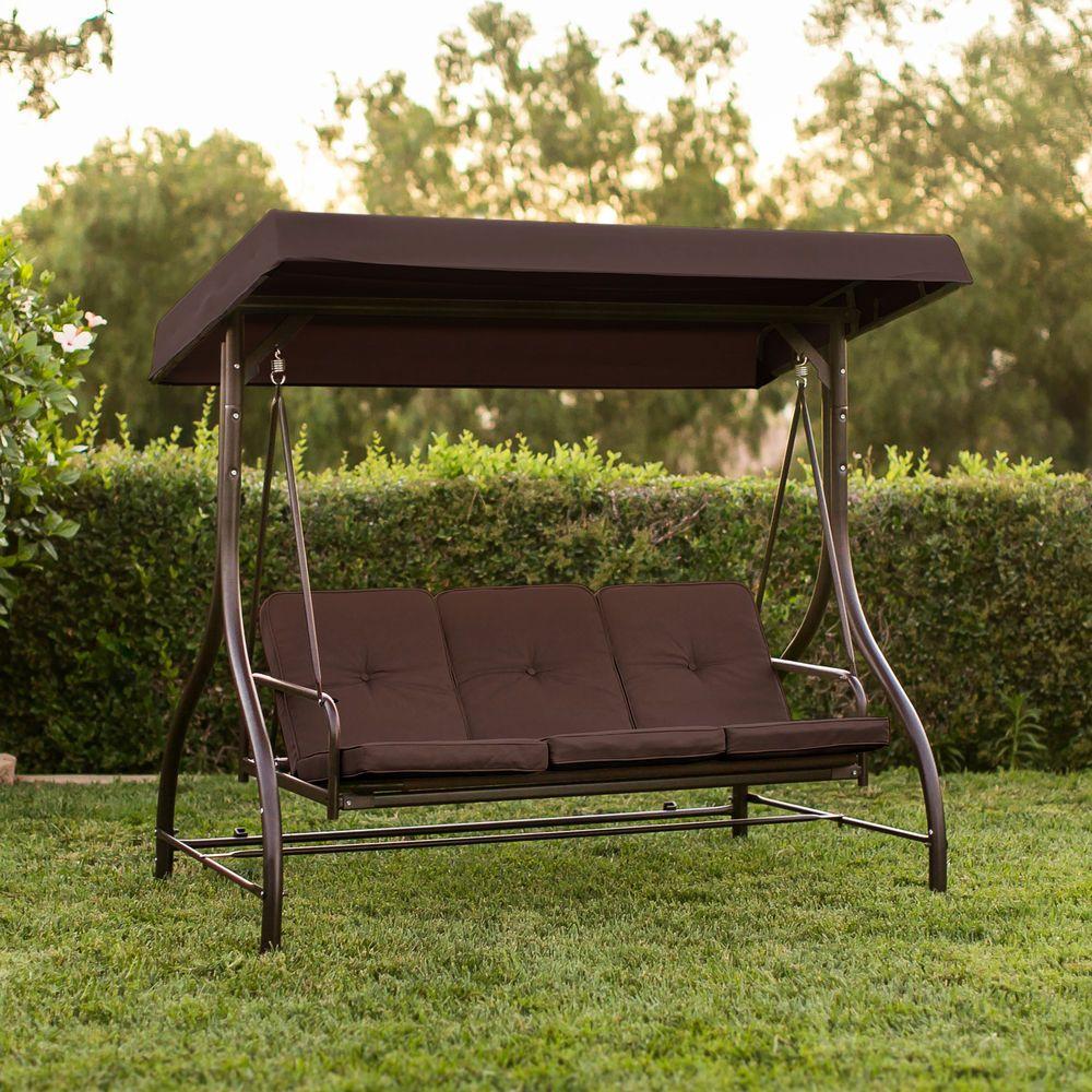 Outdoor patio canopy swing bed metal person chair hammock garden