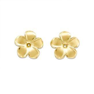 Plumeria Earring Jackets In 14k Yellow Gold 13mm
